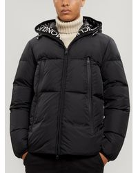 Moncler Text-trimmed Hooded Puffer Jacket - Black