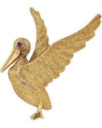 Kojis Gold Ruby Pelican Brooch - Metallic