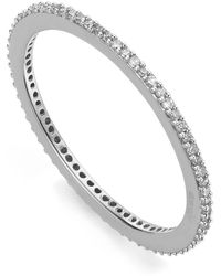 Monica Vinader Silver Skinny Diamond Eternity Ring - Metallic