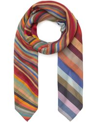 Paul Smith Swirl Rainbow Stripe Scarf - Multicolour