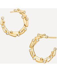 Astley Clarke Gold Plated Vermeil Silver Solstice White Sapphire Eclipse Hoop Earings - Metallic