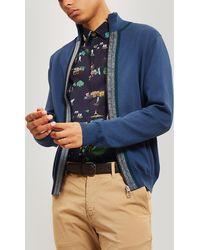 PS by Paul Smith Zip-through Stripe Detail Wool-blend Cardigan - Blue