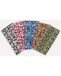 Liberty Camo Print Upcycled Tana Lawn' Cotton Face Coverings Set Of Five - Green