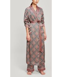 Liberty Eluard And Bramham Silk Charmeuse Robe - Green