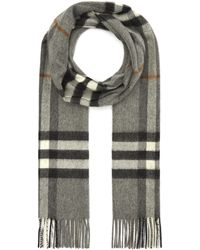 Burberry Giant Check Cashmere Scarf - Gray