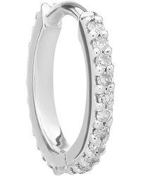 Maria Black White Gold Diamond Rainbow Eternity Huggie Hoop Earring - Metallic