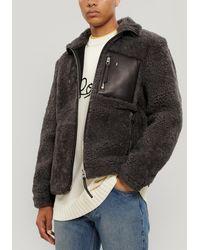 Loewe Shearling Zip-up Jacket - Gray