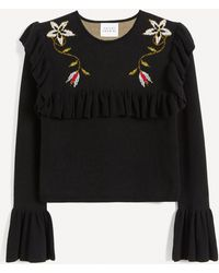Hayley Menzies Embroidered Frill-sleeve Cropped Sweater - Black