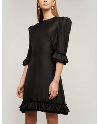The Vampire's Wife Festival Ruffled Silk-twill Mini Dress - Black