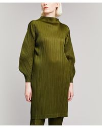 Pleats Please Issey Miyake January Monthly Colours Cowl-neck Dress - Green