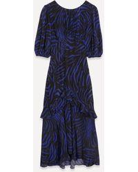 RIXO London - Cheryl Puff-sleeve Silk Midi-dress - Lyst
