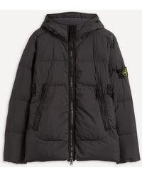 Stone Island Crinkle Reps Down Hooded Jacket - Black