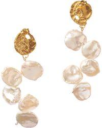 Alighieri La Jetée 24kt Gold-plated Earrings With Cornflake Pearls - Metallic