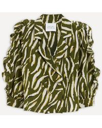 Hayley Menzies Shimmering Water Tiger Silk Tux Shirt - Green