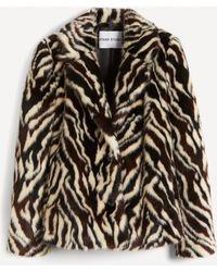 Stand Studio Melody Zebra Faux-fur Crop Coat - Black