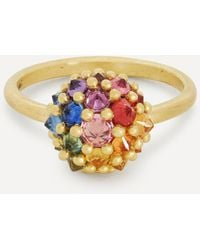 Polly Wales 18ct Gold Sputnik Rainbow Sapphire Ring - Metallic