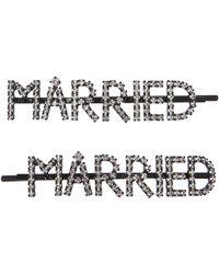 Ashley Williams Married Crystal Hair Pins - Metallic