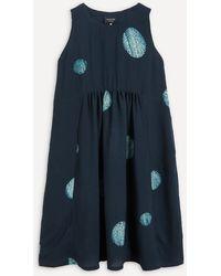 Eskandar Dot Pattern Sleeveless Midi-dress - Blue