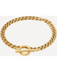 All_blues Gold Plated Vermeil Silver Polished Rope Bracelet - Metallic