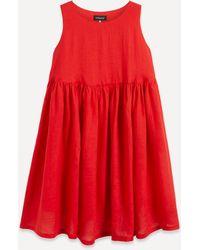 Eskandar Sleeveless Linen Midi-dress - Red