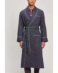 Derek Rose Polka Dot Jacquard Stripe Cotton Robe - Blue