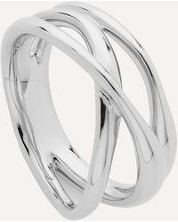 Monica Vinader Silver Nura Cross Over Ring - Metallic