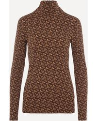Burberry Trancura High-neck Tb-monogram Top - Brown