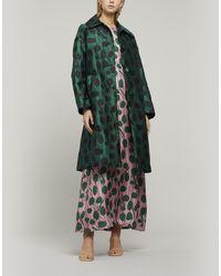 LaDoubleJ Sateen Brocade Boxy Coat - Green