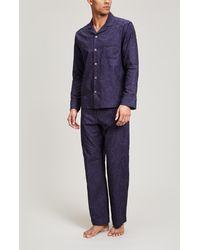 Liberty Mala Cotton Jacquard Long Pajama Set - Blue