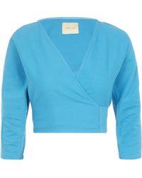 Paloma Wool Linden Wrap Crop Top - Blue
