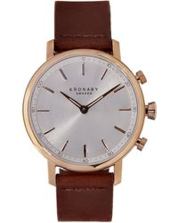 Kronaby - Carat Silver Dial Leather Strap Watch - Lyst