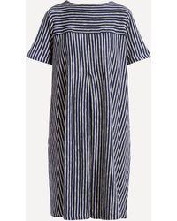 YMC Cruz Big Pleats Striped Cotton Dress - Blue