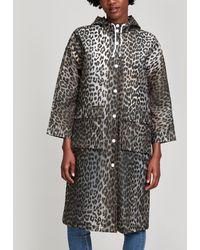 Ganni - Cherry Blossom Leopard Print Raincoat - Lyst