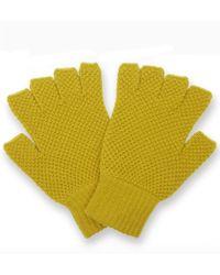 Jo Gordon - Moss Stitch Lambswool Fingerless Gloves - Lyst
