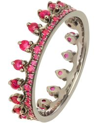 Annoushka 18ct White Gold Ruby Crown Ring - Multicolor