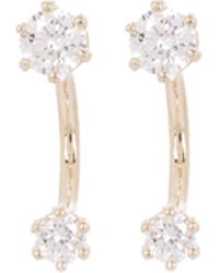 Satomi Kawakita - Gold Twin White Diamond Stud Earrings - Lyst