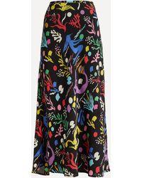 RIXO London Kelly Sea Life Silk Slip Maxi-skirt - Black