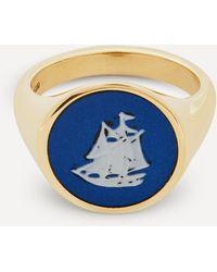 Ferian Gold Wedgwood Sailboat Round Signet Ring - Multicolour
