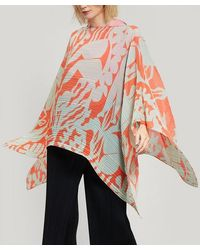 Pleats Please Issey Miyake Pleated Madam T Swimming Print Scarf - Red