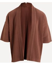 Homme Plissé Issey Miyake Oversized Pleated Cardigan - Brown