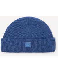 Acne Studios Rib Knit Beanie Hat - Blue