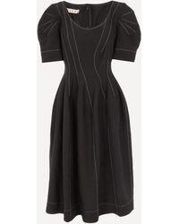 Marni Contrast Stitch Puff Sleeve Dress - Black