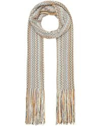 Missoni Vertical Zig Zag Stripe Cotton-blend Scarf - Natural