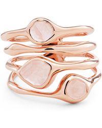 Monica Vinader Rose Gold Vermeil Siren Rose Quartz Cluster Cocktail Ring - Pink