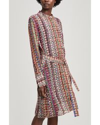 Paul Smith Semi-sheer Button Print Shirt Dress - Multicolor