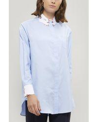 Vivetta Hand Collar Embroidered Cotton Shirt - Blue