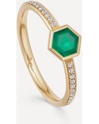 Astley Clarke Gold Plated Vermeil Silver Mini Deco Green Agate And White Sapphire Ring - Metallic