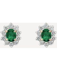 Kojis White Gold Emerald And Diamond Cluster Stud Earrings - Metallic