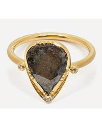 Brooke Gregson Gold Diamond Teardrop Halo Ring - Metallic