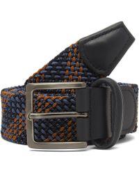 Andersons Tartan Elasticated Woven Belt - Black